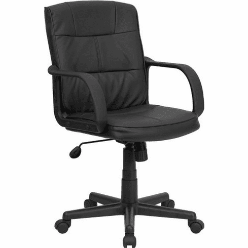 Flash Furniture Mid-Back Black Leather Office Chair with Nylon Arms Model GO-228S-BK-LEA-GG