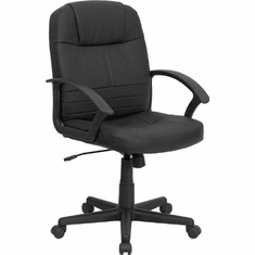Flash Furniture Mid-Back Black Leather Overstuffed Office Chair Model BT-8075-BK-GG