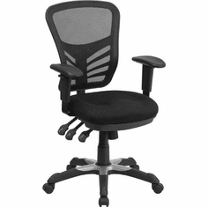 Flash Furniture Mid-Back Black Mesh Chair with Padded Mesh Seat Model HL-0001-GG