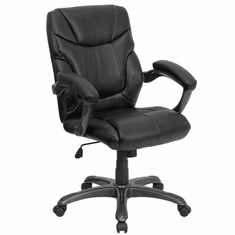 Flash Furniture Mid-Back Black Office Chair with Mesh Back and Italian Leather Seat Model GO-724M-MID-BK-LEA-GG