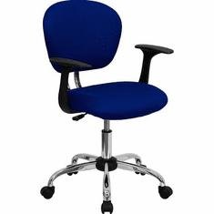 Flash Furniture Mid-Back Blue Mesh Task Chair with Arms and Chrome Base Model H-2376-F-BLUE-ARMS-GG