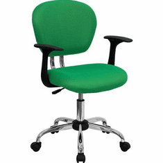 Flash Furniture Mid-Back Bright Green Mesh Task Chair with Arms and Chrome Base Model H-2376-F-BRGRN-ARMS-GG
