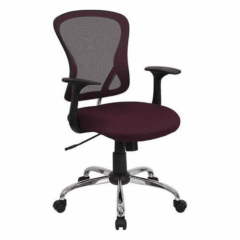 Flash Furniture Mid-Back Burgundy Mesh Office Chair with Chrome Finished Base Model H-8369F-ALL-BY-GG
