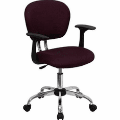 Flash Furniture Mid-Back Burgundy Mesh Task Chair with Arms and Chrome Base Model H-2376-F-BY-ARMS-GG