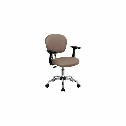 Flash Furniture Mid-Back Coffee Brown Mesh Task Chair with Arms and Chrome Base Model H-2376-F-COF-ARMS-GG