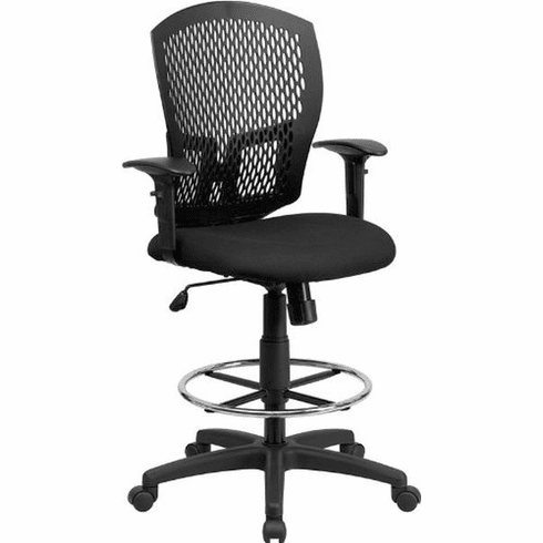 Flash Furniture Mid-Back Designer Back Drafting Stool with Padded Fabric Seat and Arms Model WL-3958SYG-BK-AD-GG