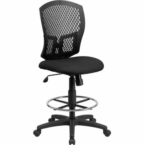 Flash Furniture Mid-Back Designer Back Drafting Stool with Padded Fabric Seat Model WL-3958SYG-BK-D-GG