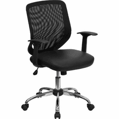 Flash Furniture Mid-Back Designer Black Leather Executive Office Chair with Chrome Base Model LF-W95-LEA-BK-GG