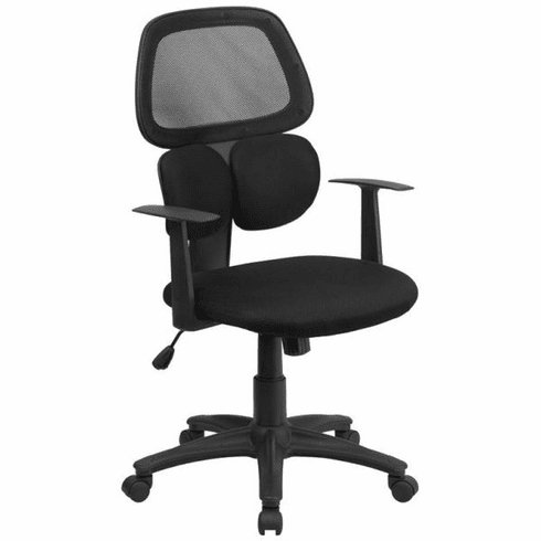 Flash Furniture Mid-Back Manager's Chair with Black Mesh Back and Padded Mesh Seat Model BT-2755-BK-GG