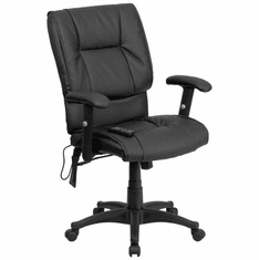 Flash Furniture Mid-Back Massaging Black Leather Executive Office Chair, Model BT-2770P-GG