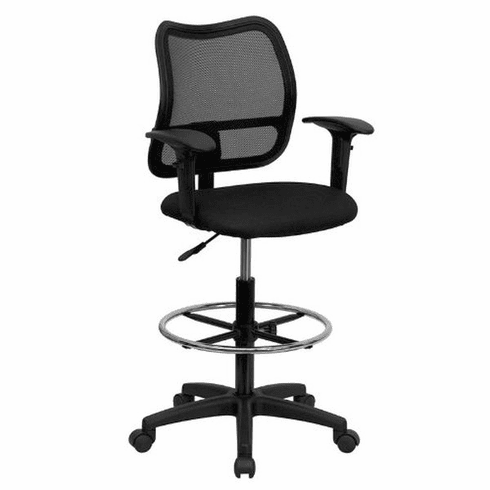 Flash Furniture Mid-Back Mesh Drafting Stool with Black Fabric Seat and Arms, Model WL-A277-BK-AD-GG