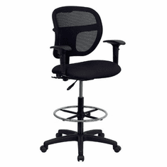 Flash Furniture Mid-Back Mesh Drafting Stool with Black Fabric Seat and Arms, Model WL-A7671SYG-BK-AD-GG