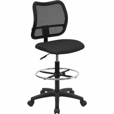 Flash Furniture Mid-Back Mesh Drafting Stool with Black Fabric Seat, Model WL-A277-BK-D-GG