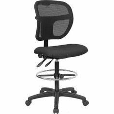 Flash Furniture Mid-Back Mesh Drafting Stool with Black Fabric Seat, Model WL-A7671SYG-BK-D-GG
