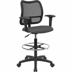 Flash Furniture Mid-Back Mesh Drafting Stool with Gray Fabric Seat and Arms, Model WL-A277-GY-AD-GG