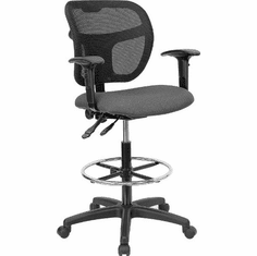 Flash Furniture Mid-Back Mesh Drafting Stool with Gray Fabric Seat and Arms, Model WL-A7671SYG-GY-AD-GG