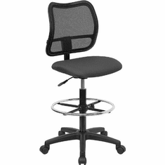 Flash Furniture Mid-Back Mesh Drafting Stool with Gray Fabric Seat, Model WL-A277-GY-D-GG