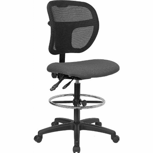 Flash Furniture Mid-Back Mesh Drafting Stool with Gray Fabric Seat, Model WL-A7671SYG-GY-D-GG