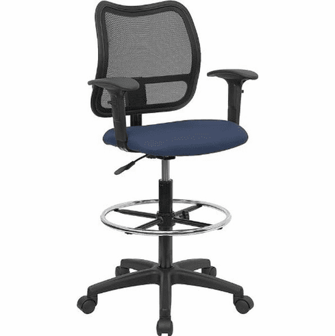 Flash Furniture Mid-Back Mesh Drafting Stool with Navy Blue Fabric Seat and Arms, Model WL-A277-NVY-AD-GG