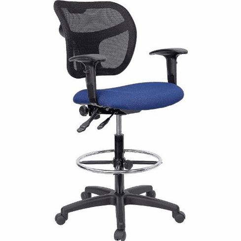 Flash Furniture Mid-Back Mesh Drafting Stool with Navy Blue Fabric Seat and Arms, Model WL-A7671SYG-NVY-AD-GG