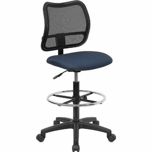 Flash Furniture Mid-Back Mesh Drafting Stool with Navy Blue Fabric Seat, Model WL-A277-NVY-D-GG