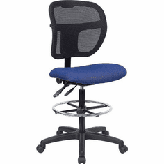 Flash Furniture Mid-Back Mesh Drafting Stool with Navy Blue Fabric Seat, Model WL-A7671SYG-NVY-D-GG