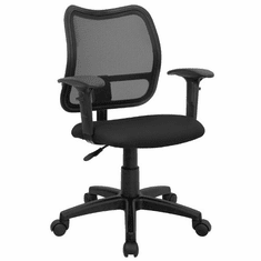 Flash Furniture Mid-Back Mesh Task Chair with Black Fabric Seat and Arms, Model WL-A277-BK-A-GG