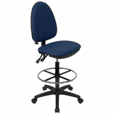 Flash Furniture Mid-Back Navy Blue Fabric Multi-Functional Drafting Stool with Adjustable Lumbar Support Model WL-A654MG-NVY-D-GG