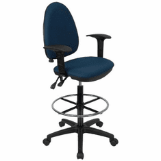 Flash Furniture Mid-Back Navy Blue Fabric Multi-Functional Drafting Stool with Arms and Adjustable Lumbar Support Model WL-A654MG-NVY-AD-GG