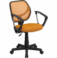Flash Furniture Mid-Back Orange Mesh Task Chair and Computer Chair with Arms Model WA-3074-OR-A-GG