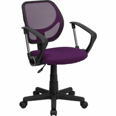 Flash Furniture Mid-Back Purple Mesh Task Chair and Computer Chair with Arms Model WA-3074-PUR-A-GG