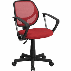 Flash Furniture Mid-Back Red Mesh Task Chair and Computer Chair with Arms Model WA-3074-RD-A-GG
