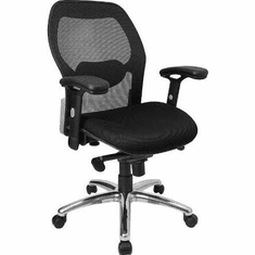 Flash Furniture Mid-Back Super Mesh Office Chair with Black Fabric Seat and Knee Tilt Control Model LF-W42-GG