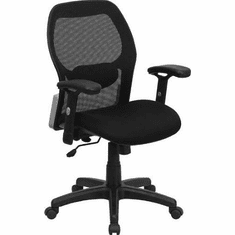 Flash Furniture Mid-Back Super Mesh Office Chair with Black Fabric Seat Model LF-W42B-GG