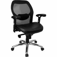 Flash Furniture Mid-Back Super Mesh Office Chair with Black Italian Leather Seat and Knee Tilt Control Model LF-W42-L-GG