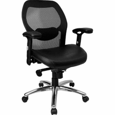 Flash Furniture Mid-Back Super Mesh Office Chair with Black Italian Leather Seat Model LF-W42B-L-GG