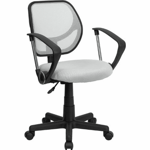 Flash Furniture Mid-Back White Mesh Task Chair and Computer Chair with Arms Model WA-3074-WHT-A-GG