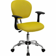Flash Furniture Mid-Back Yellow Mesh Task Chair with Arms and Chrome Base Model H-2376-F-YEL-ARMS-GG