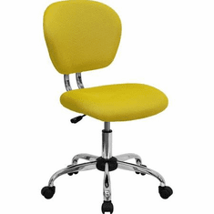 Flash Furniture Mid-Back Yellow Mesh Task Chair with Chrome Base Model H-2376-F-YEL-GG