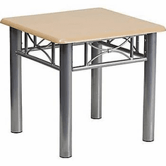Flash Furniture Natural Laminate End Table with Silver Steel Frame Model JB-6-COF-NAT-GG