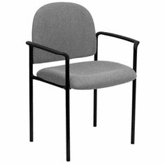 Flash Furniture Navy Fabric Comfortable Stackable Steel Side Chair with Arms Model BT-516-1-GY-GG