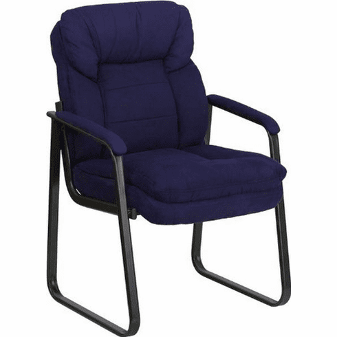 Flash Furniture Navy Leather Transitional Side Chair with Padded Arms and Sled Base Model GO-1156-NVY-GG