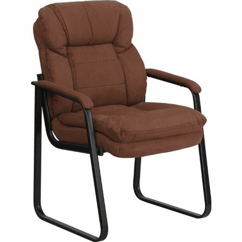 Flash Furniture Navy Microfiber Executive Side Chair with Sled Base Model GO-1156-BN-GG