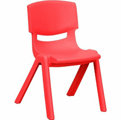 Flash Furniture Red Plastic Stackable School Chair with 13.25'' Seat Height Model YU-YCX-003-RED-GG