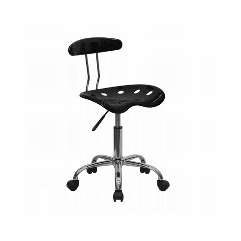 Flash Furniture Vibrant Black and Chrome Computer Task Chair with Tractor Seat Model LF-214-BLK-GG