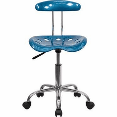 Flash Furniture Vibrant Bright Blue and Chrome Computer Task Chair with Tractor Seat Model LF-214-BRIGHTBLUE-GG