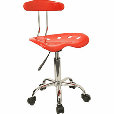 Flash Furniture Vibrant Cherry Tomato and Chrome Computer Task Chair with Tractor Seat Model LF-214-CHERRYTOMATO-GG