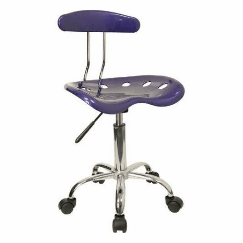 Flash Furniture Vibrant Deep Blue and Chrome Computer Task Chair with Tractor Seat Model LF-214-DEEPBLUE-GG