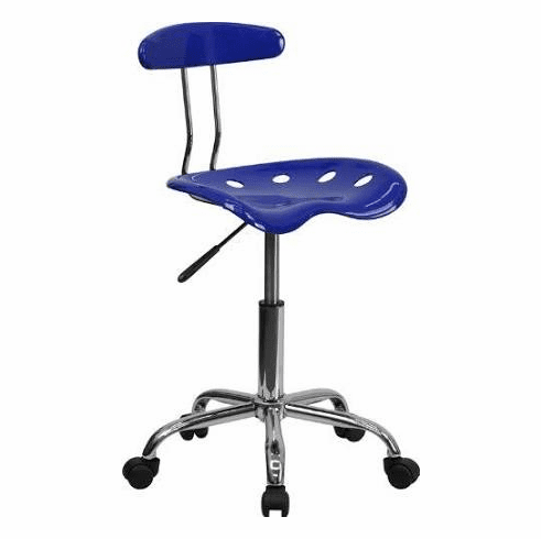 Flash Furniture Vibrant Nautical Blue and Chrome Computer Task Chair with Tractor Seat Model LF-214-NAUTICALBLUE-GG