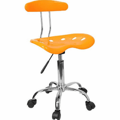 Flash Furniture Vibrant Orange and Chrome Computer Task Chair with Tractor Seat Model LF-214-ORANGEYELLOW-GG